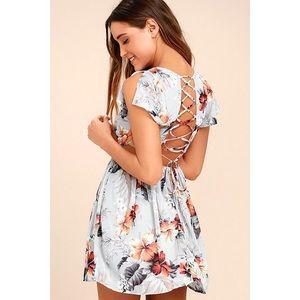 Lulus La Brea Floral Print Backless Lace-up Dress